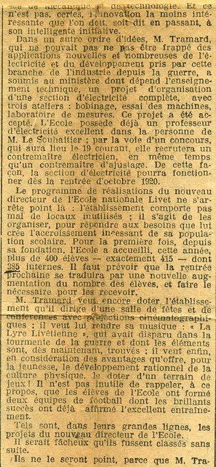Situation de l'ecole en 1920